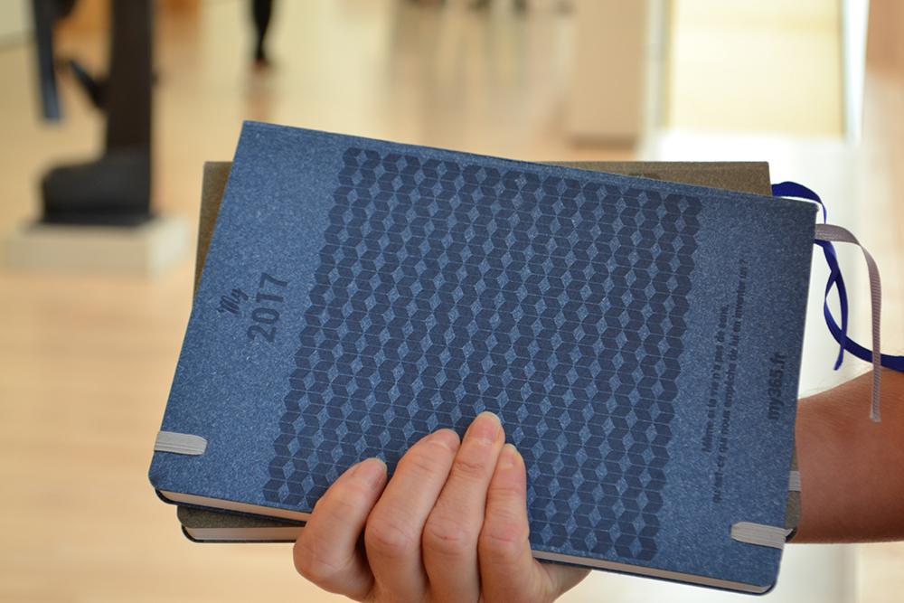 Photo verso des agendas gris et bleu